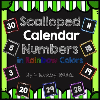 Striped Scalloped Calendar Numbers in Rainbow Colors!