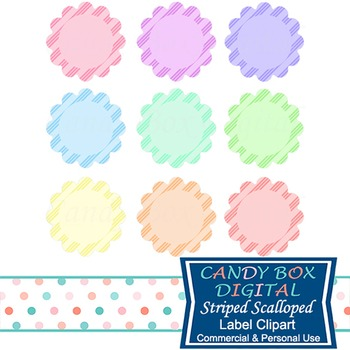 Striped Scalloped Circle Label Tags