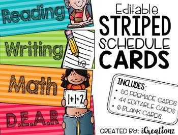 Striped Schedule Cards