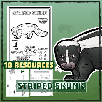 Striped Skunk -- 10 Resources -- Coloring Pages, Reading &