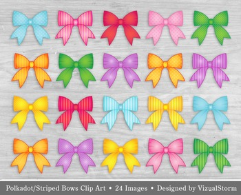 Striped and Polkadot Bows Clip Art, 20 Colorful Bow Illustrations