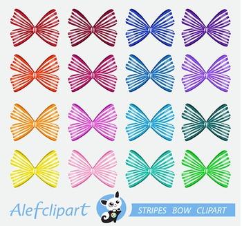 Stripes Bow Digital Clipart