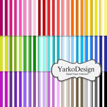 Stripes Digital Scrapbooking Paper Set, 42 Digital Papers