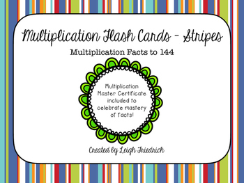 Stripes Multiplication Facts Flash Cards and Certificates