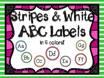 Stripes & White ABC Labels for Word Walls & Classrooms