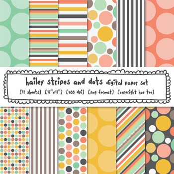 Stripes and Polka Dots Digital Backgrounds, Pink, Blue and