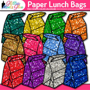 Paper Lunch Bags Clip Art - Back to School Clip Art
