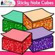 Sticky Note Clip Art {Rainbow Glitter Back to School Suppl
