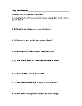 Stuck in Neutral by Terry Trueman: Questions to accompany