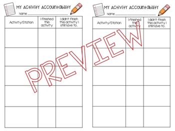 Student Accountability Sheets for Stations/Indpt work/Smal