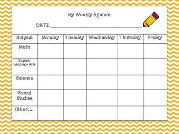 Student Agenda Template