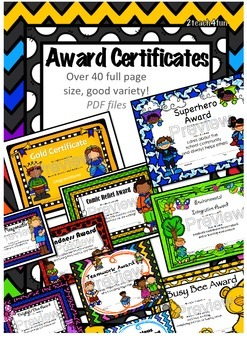 Student Award Certificates- Variety, Colorful, over 40 cer