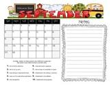 Student Behavior Calendar August 2013 - July 2014