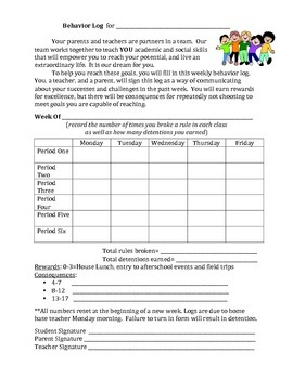 Student Behavior Log-Motivate and Involve Student, Teacher