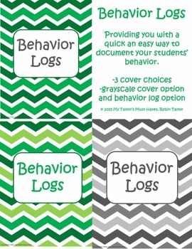 Student Behavior Log Shades of Green