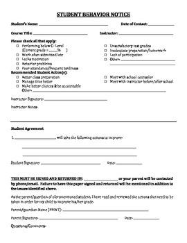 Student Behavior Notice