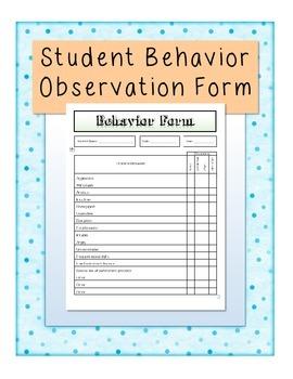 Behavior Observation Form