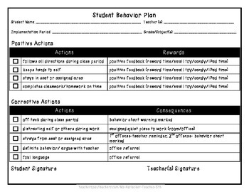 Student Behavior Plan (Actions/Rewards and Actions/Consequ