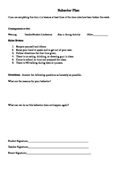 Student Behavior Reflection Plan