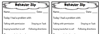 Student  Behavior Reflection Slip