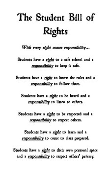 Student Bill of Rights Display