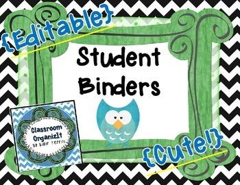 {Student} Binder Bin Storage Cover/Label ~ Editable {Chevron}