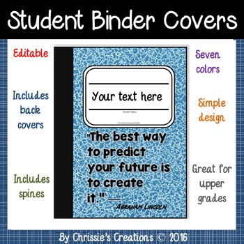 Student Binder Covers in composition theme 7 colors (Edita