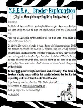 Student Binder Explanation Sheet for parents