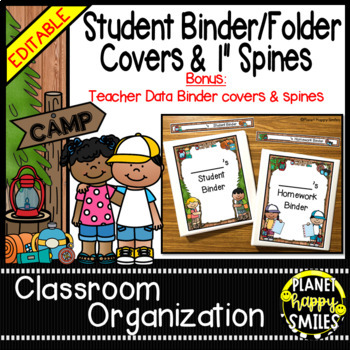 Student Binder & Spines ~ Camping Theme ~ Editable
