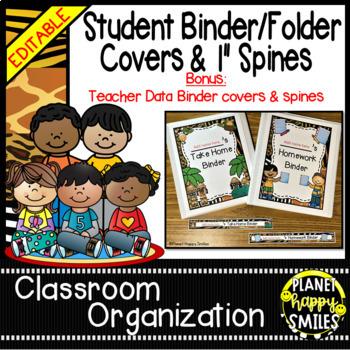 Student Binder & Spines ~ Jungle/Safari Theme ~ Editable