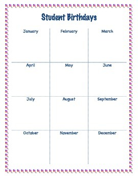 Student Birthdays Chart