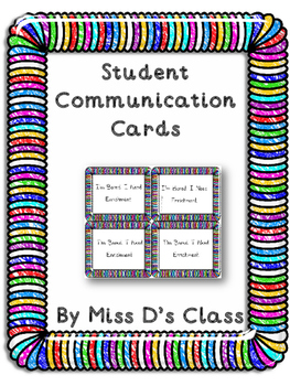 Student Communication Cards