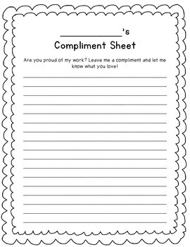 Student Compliment Sheet (FREE!)