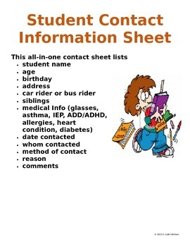 Student Contact Information Sheet