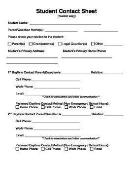 Student Contact Sheet