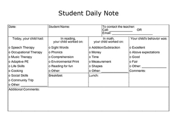 Student Daily Note