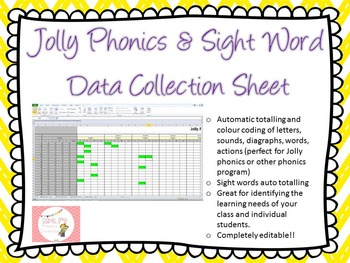 Student Data Collection Sheet- Jolly Phonics, Sight Words