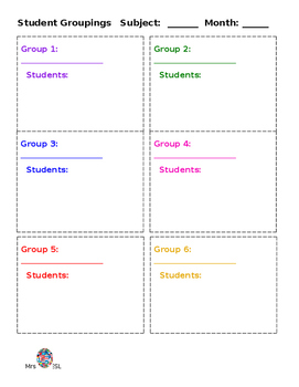 Student Groupings Sheet