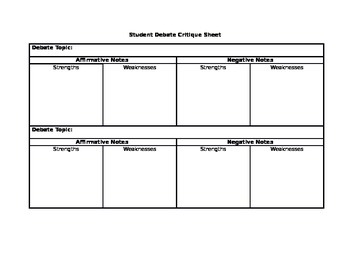 Student Debate Critique Sheet