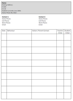 Student Demographic and Discipline Record Sheet