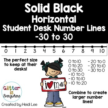 HORIZONTAL Student Desk Number Lines - Solid Black (0-10 to 0-30)