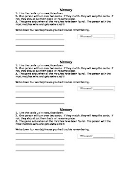Student Directions for Memory Station