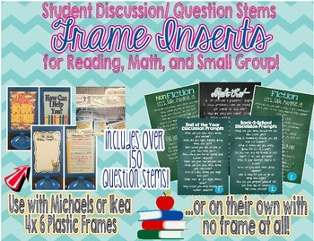 Student Discussion Cards using 4x6 Picture Frames!