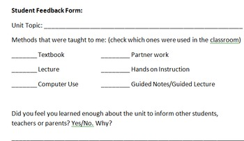 Student Feedback Form for Teacher Use