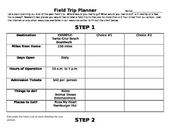 Student Field Trip Planner