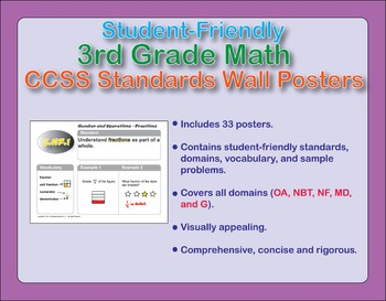 Student-Friendly 3rd Grade Math CCSS Standards Wall Posters