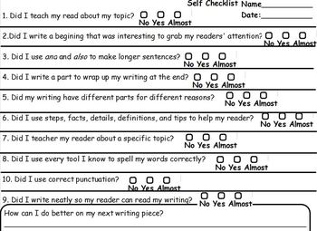 Student Friendly Checklist For Informational Lucy Calkins