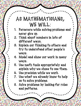 Student Friendly Common Core State Standards Math Practices