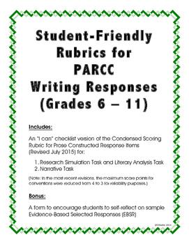 Student-Friendly PARCC Rubrics for Writing Responses (Grad