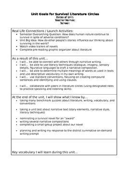 Student Friendly Unit Plan: Survival Literature Circles